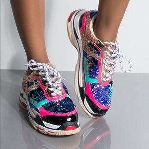 Cape Robbin Flagship Sequin Sneakers 10 NWOT